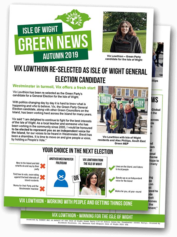 Vix Lowthion – Green Party Isle of Wight newsletter, October 2019