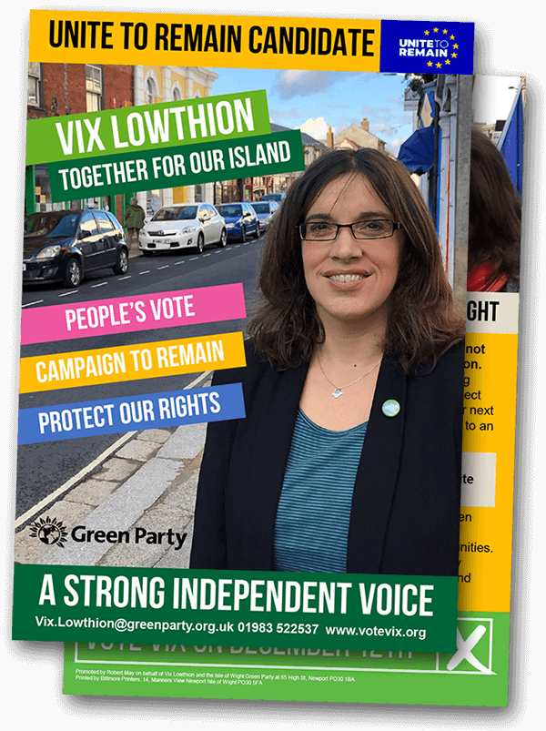 Vix Lowthion – Unite to Remain leaflet
