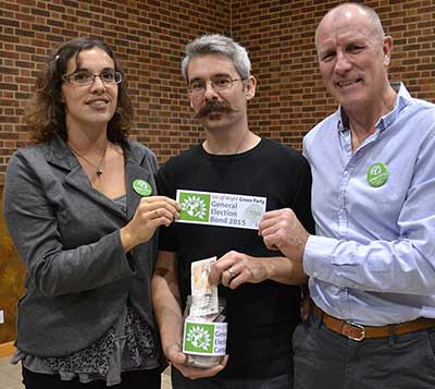 Vix Lowthion with other members of the Isle of Wight Green Party, launching the 2015 General Election bond scheme